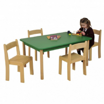 Height Adjustable Beechwood Rectangle Table Green